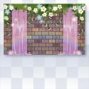 虹の輝く水のお城の壁紙 パープル