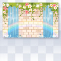 虹の輝く水のお城の壁紙 ブルー