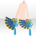 朱雀の羽扇子 青
