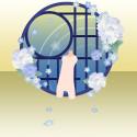 冬牡丹の咲く窓 青