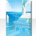 水中都市の背景 ブルー