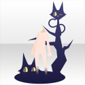 闇に溶け込む黒猫の影 ブルー
