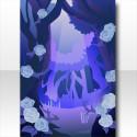 魔界の薔薇に侵食されし森の背景 ブルー