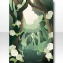 魔界の薔薇に侵食されし森の背景 グリーン