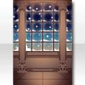 スノーランドキャッスルの窓の背景 夜