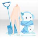 ぬくぬくもこもこ雪だるま ブルー
