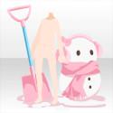 ぬくぬくもこもこ雪だるま ピンク