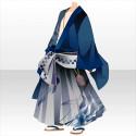 流しの誠二郎の着物A 青