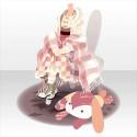 うさぎ椅子に座るB ピンク