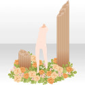 花に囲まれた石柱 イエロー