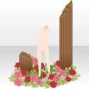 花に囲まれた石柱 レッド