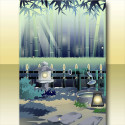 巡夏の竹林の背景 夜