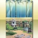巡夏の竹林の背景 朝
