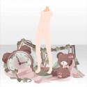 クマと時計のモチーフ ピンク