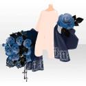 薔薇園の花束と十字架 ブルー