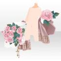 薔薇園の花束と十字架 ピンク
