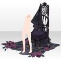 薔薇散る古城の椅子 ブラック