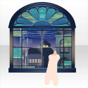 椿ビヰドロ新聞社の窓辺 夜