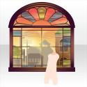 椿ビヰドロ新聞社の窓辺 夕
