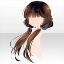 椿少女のおさげ髪 茶