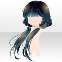 椿少女のおさげ髪 緑