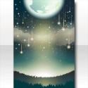 星降る月夜の背景 緑